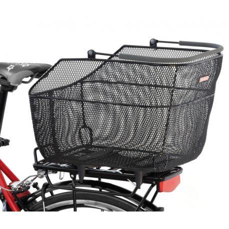 Panier arrière PLETSCHER métal sur porte-bagage DeLuxe XXL maille serrée noir