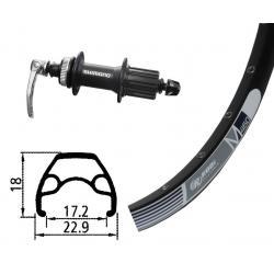 Roue à pneu arrière 26p VTT vtt Rodi M460 Disc noir flancs argent