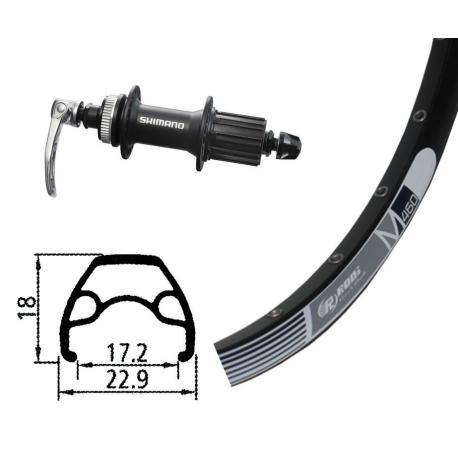 Roue à pneu arrière 26p VTT vtt Rodi M460 Disc noir flancs blancs