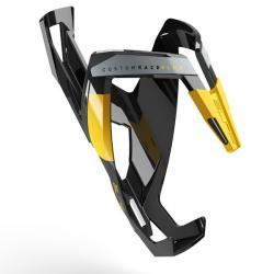 Porte-bidon ELITE 2020 nylon route vtt Custom Race+ noir brilant décor jaune Graphic et gris