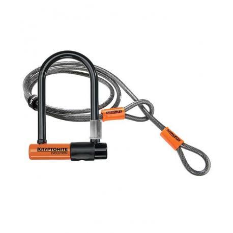 Antivol KRYPTONITE U + cable Evolution Mini 7 + Flex à clef orange et noir