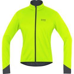 Veste thermique GORE BIKE hiver Power 2.0 Windstopper SoftShell jaune fluo décor noir
