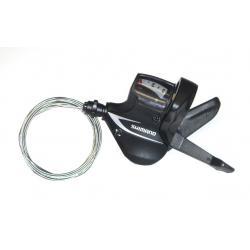 Manette de dérailleur SHIMANO vtt 8v Acera M360 triple Gauche noire - avec cadran de vitesses - avec cable - GAUCHE.