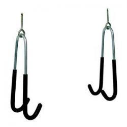 Crochets VAR acier Argent gainé noir - permet de suspendre vos roues ou le vélo pour le ranger ou l'entretenir - PRATIQUE.