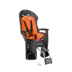 Porte-bébé HAMAX arrière sur cadre Siesta gris foncé décor orange