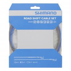 Cables+Gaine SHIMANO dérailleur route vtt OptiSlik bleu 4mm