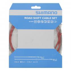 Cables+Gaine SHIMANO dérailleur route Optislik Rouge