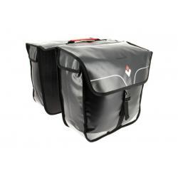 Sacoche HAPO-G arrière double cavalière Rigide WaterProof étanche noir décor argent sur porte-bagage