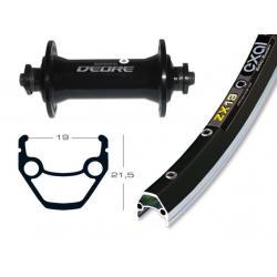 Roue à pneu avant 26p VELO vtt Exal ZX19 noir flancs polis V-brake moyeu Déore510