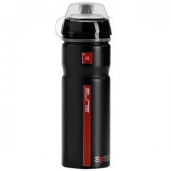 Bidon ELITE aluminium Syssa noir mat décor rouge - capuchon de propreté - antichoc - 750ml - ppc 13.90 €ttc - PRATIQUE.