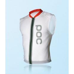 Veste protection sans manches POC adulte Spine VPD blanc décor orange - dorsale souple VPD bi-densité + ceinture ventrale