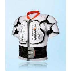 Veste protection manches courtes POC adulte Spine VPD blanc décor orange - dorsale souple VPD + épaules et plastron rigides