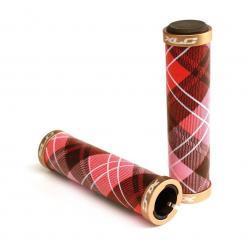 Poignées de guidon XLC Gr-s09 Fashion 125 mm avec 2 colliers de fixation - écossais rouge-rose-blanc colliers couleur or -