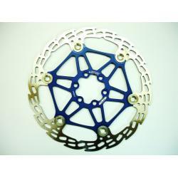 Disque de frein HOPE Saw (dent de scie) MM 2/4 étoile alu (floating disc) - 6 trous - bleu - 171gr - ppc 58€ttc - 203 mm