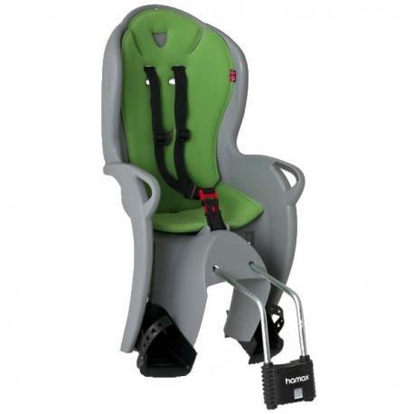 Porte-bébé HAMAX arrière sur cadre Kiss gris décor vert
