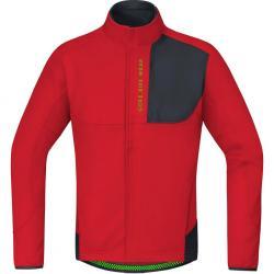 Veste thermique GORE BIKE hiver Power Trail Windstopper SoftShell Thermo rouge décor noir