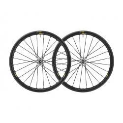 Roues à pneu 700 MAVIC route Ksyrium Elite UST Disc 6B Graphite Black 25 noire décor gris