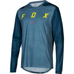 Maillot manches longues FOX vtt Indicator Mash bleu acier décor camouflage