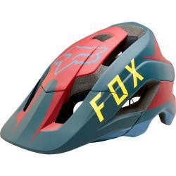 Casque FOX vtt Metah Flow bleu mat décor jaune et rouge bordeaux